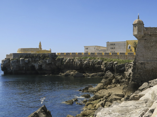 A seawall and fort at Penich in Portugal