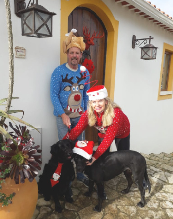 SAM and Rich from QBV at Christmas with their dogs, Bingo and Scrabble