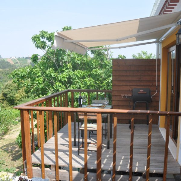Balcony overlooking fields and forests